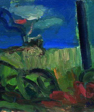 Peizažas su stulpu/81×100/aliejus, drobė/1989
