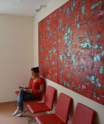 """Discoveries /150x240/acrylic on canvas/2015(The clinic of odontology """"Žavi šypsena"""", Klaipėda)"""